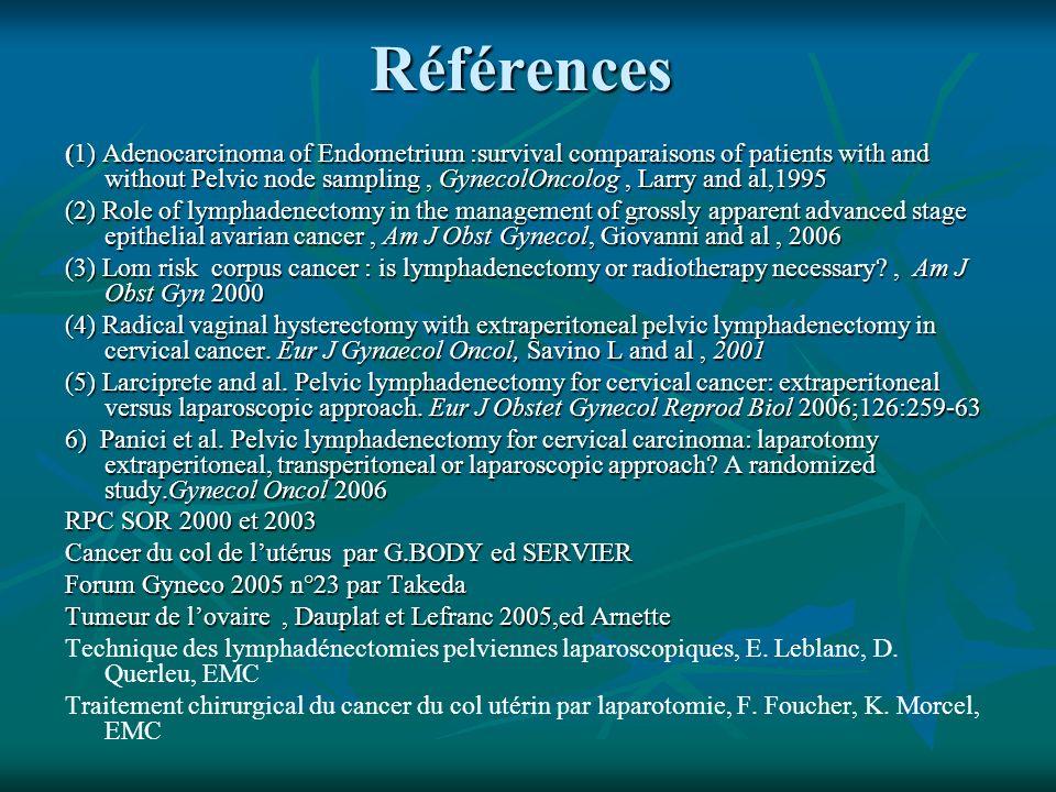 Références (1) Adenocarcinoma of Endometrium :survival comparaisons of patients with and without Pelvic node sampling, GynecolOncolog, Larry and al,19
