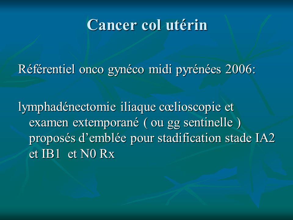 Cancer col utérin Référentiel onco gynéco midi pyrénées 2006: lymphadénectomie iliaque cœlioscopie et examen extemporané ( ou gg sentinelle ) proposés