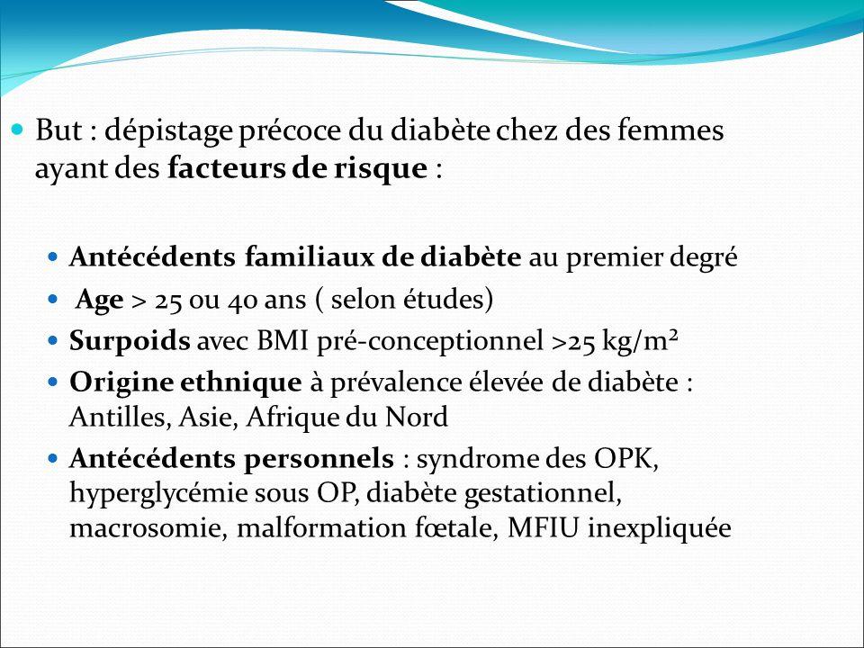 But : dépistage précoce du diabète chez des femmes ayant des facteurs de risque : Antécédents familiaux de diabète au premier degré Age > 25 ou 40 ans ( selon études) Surpoids avec BMI pré-conceptionnel >25 kg/m² Origine ethnique à prévalence élevée de diabète : Antilles, Asie, Afrique du Nord Antécédents personnels : syndrome des OPK, hyperglycémie sous OP, diabète gestationnel, macrosomie, malformation fœtale, MFIU inexpliquée