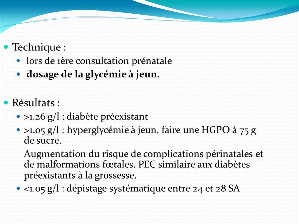 Technique : lors de 1ère consultation prénatale dosage de la glycémie à jeun.