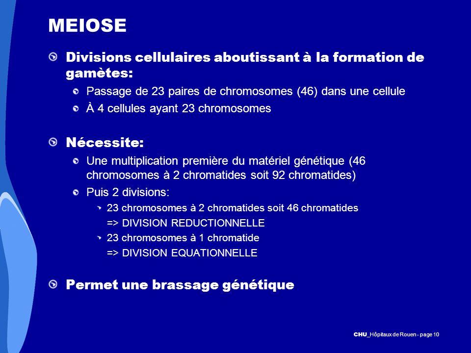 CHU _Hôpitaux de Rouen - page 10 MEIOSE Divisions cellulaires aboutissant à la formation de gamètes: Passage de 23 paires de chromosomes (46) dans une
