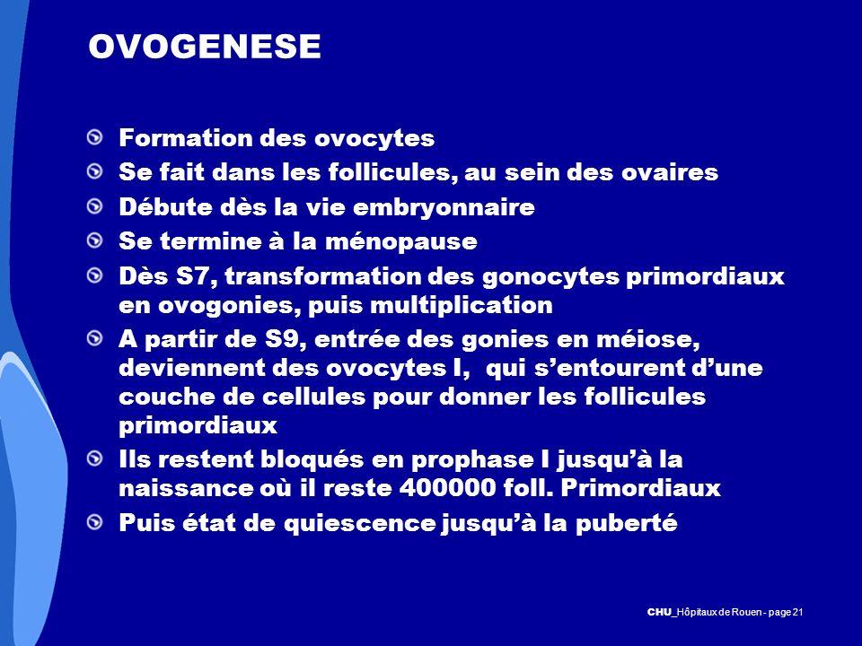 CHU _Hôpitaux de Rouen - page 21 OVOGENESE Formation des ovocytes Se fait dans les follicules, au sein des ovaires Débute dès la vie embryonnaire Se t