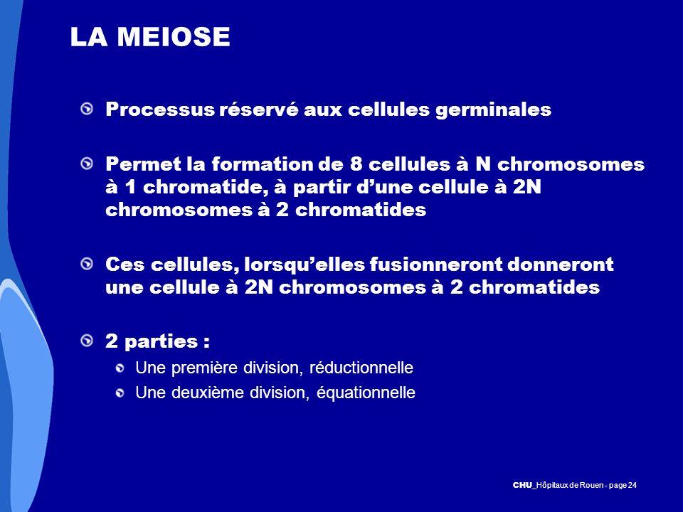 CHU _Hôpitaux de Rouen - page 24 LA MEIOSE Processus réservé aux cellules germinales Permet la formation de 8 cellules à N chromosomes à 1 chromatide,