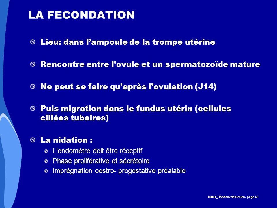 CHU _Hôpitaux de Rouen - page 43 LA FECONDATION Lieu: dans lampoule de la trompe utérine Rencontre entre lovule et un spermatozoïde mature Ne peut se