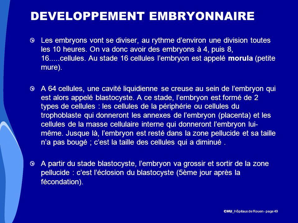 CHU _Hôpitaux de Rouen - page 49 DEVELOPPEMENT EMBRYONNAIRE Les embryons vont se diviser, au rythme denviron une division toutes les 10 heures. On va