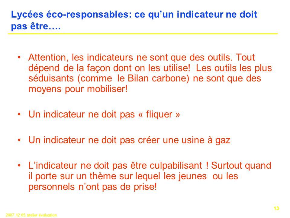 13 2007 12 05 atelier évaluation Lycées éco-responsables: ce quun indicateur ne doit pas être….