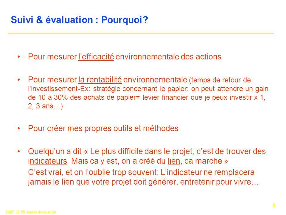 2 2007 12 05 atelier évaluation Suivi & évaluation : Pourquoi.