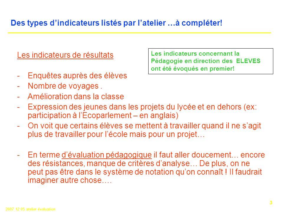 3 2007 12 05 atelier évaluation Des types dindicateurs listés par latelier …à compléter.