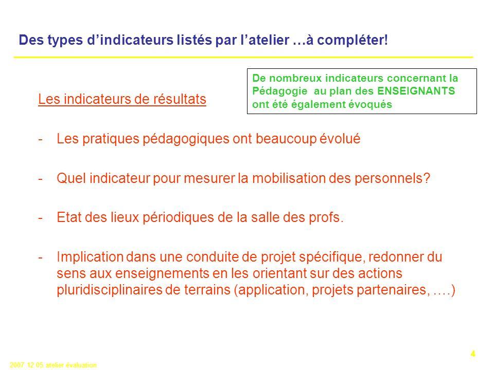 4 2007 12 05 atelier évaluation Les indicateurs de résultats -Les pratiques pédagogiques ont beaucoup évolué -Quel indicateur pour mesurer la mobilisation des personnels.