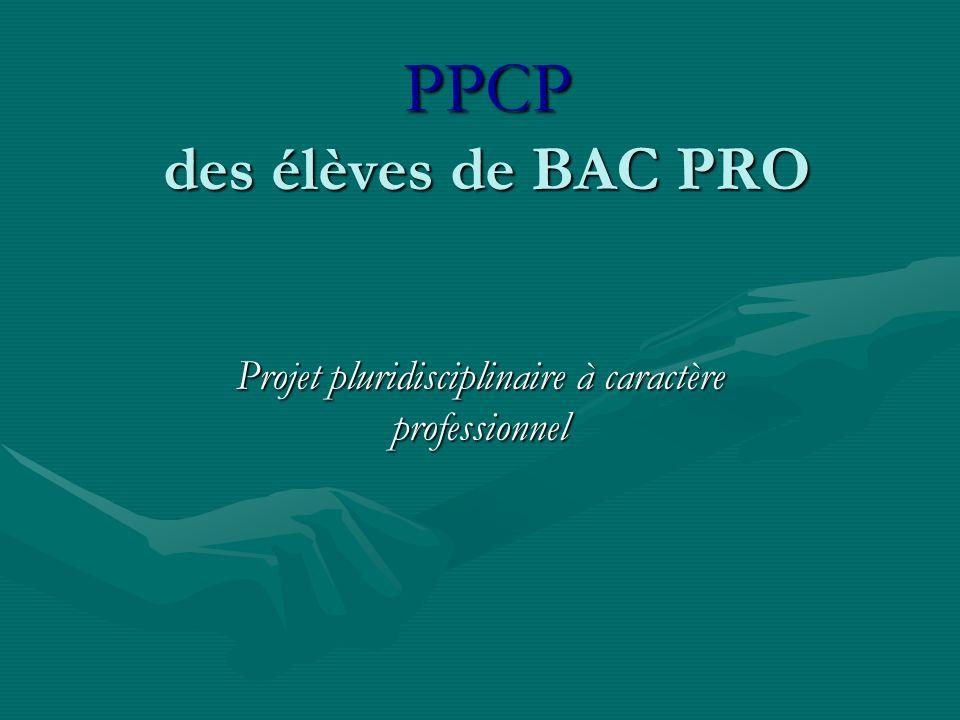 PPCP des élèves de BAC PRO Projet pluridisciplinaire à caractère professionnel