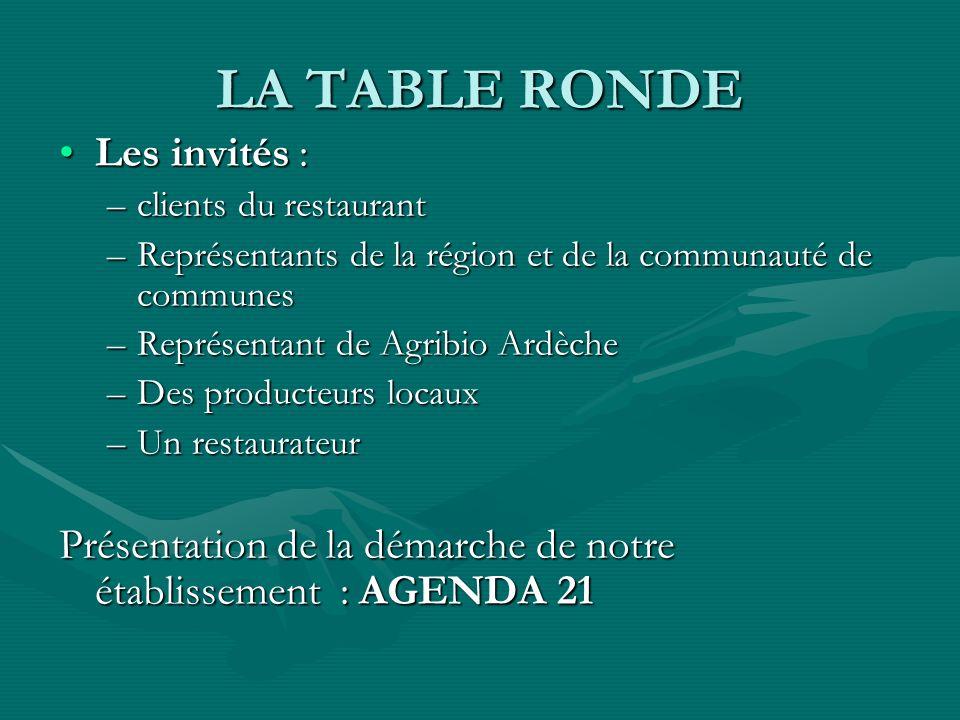 LA TABLE RONDE Les invités :Les invités : –clients du restaurant –Représentants de la région et de la communauté de communes –Représentant de Agribio