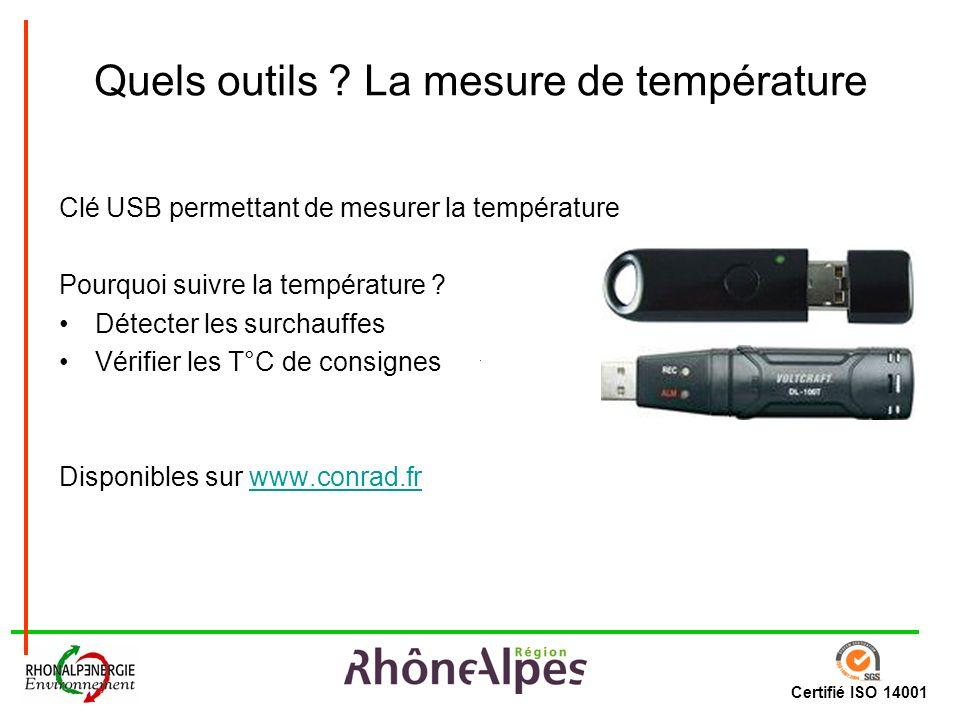 Certifié ISO 14001 Quels outils ? La mesure de température Clé USB permettant de mesurer la température Pourquoi suivre la température ? Détecter les