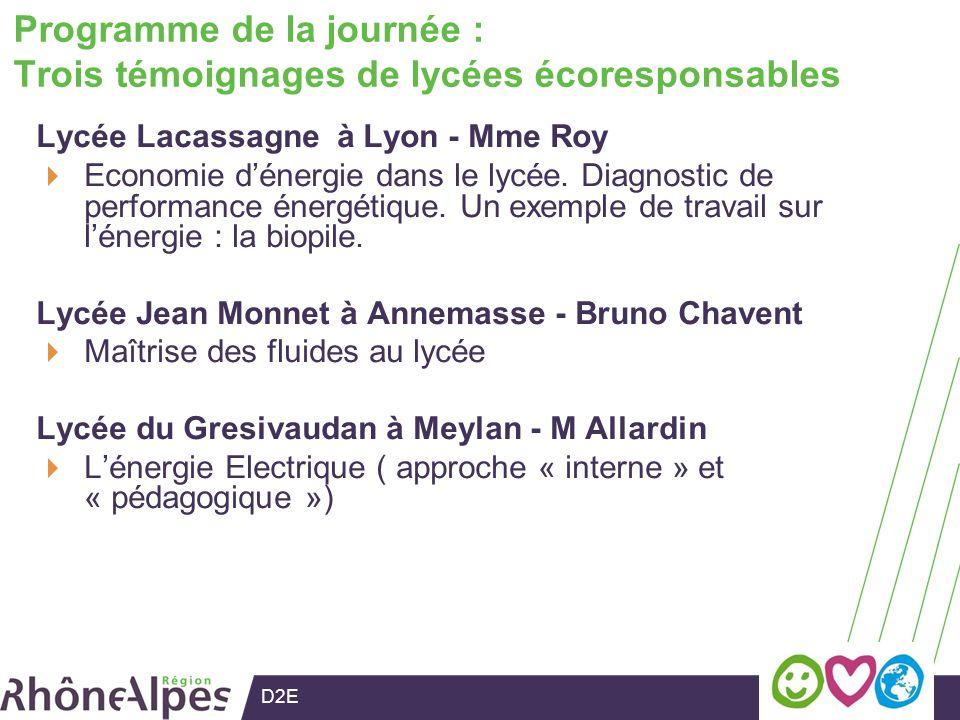 D2E Programme de la journée : Trois témoignages de lycées écoresponsables Lycée Lacassagne à Lyon - Mme Roy Economie dénergie dans le lycée.