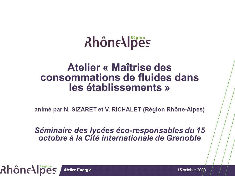 15 octobre 2008Atelier Energie Atelier « Maîtrise des consommations de fluides dans les établissements » animé par N.
