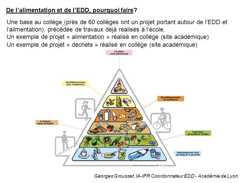 Georges Grousset, IA-IPR Coordonnateur EDD - Académie de Lyon De lalimentation et de lEDD, pourquoi faire? Une base au collège (près de 60 collèges on