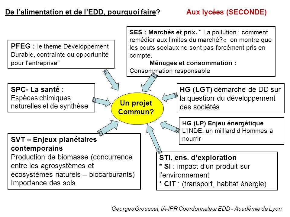 De lalimentation et de lEDD, pourquoi faire? Aux lycées (SECONDE) Georges Grousset, IA-IPR Coordonnateur EDD - Académie de Lyon SVT – Enjeux planétair