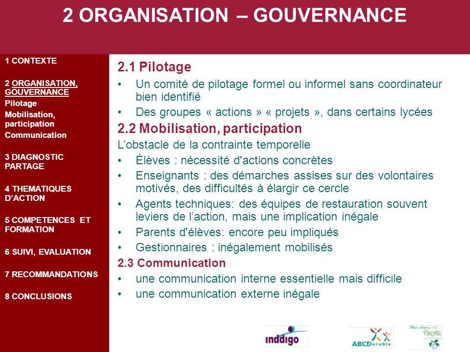 2 ORGANISATION – GOUVERNANCE 2.1 Pilotage Un comité de pilotage formel ou informel sans coordinateur bien identifié Des groupes « actions » « projets