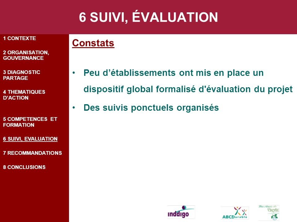 6 SUIVI, ÉVALUATION Constats Peu détablissements ont mis en place un dispositif global formalisé d évaluation du projet Des suivis ponctuels organisés 1 CONTEXTE 2 ORGANISATION, GOUVERNANCE 3 DIAGNOSTIC PARTAGE 4 THEMATIQUES DACTION 5 COMPETENCES ET FORMATION 6 SUIVI, EVALUATION 7 RECOMMANDATIONS 8 CONCLUSIONS