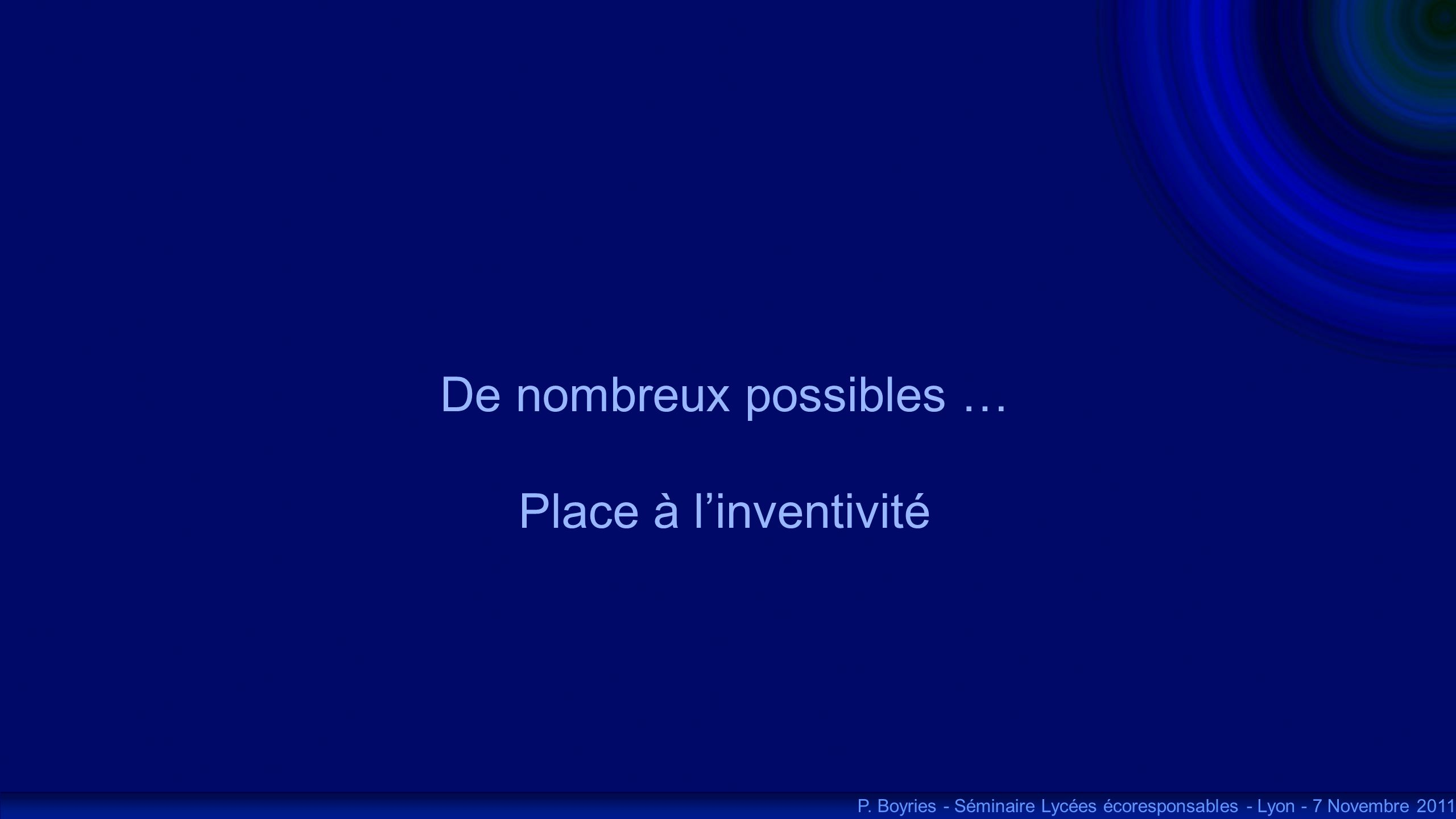 De nombreux possibles … Place à linventivité P. Boyries - Séminaire Lycées écoresponsables - Lyon - 7 Novembre 2011