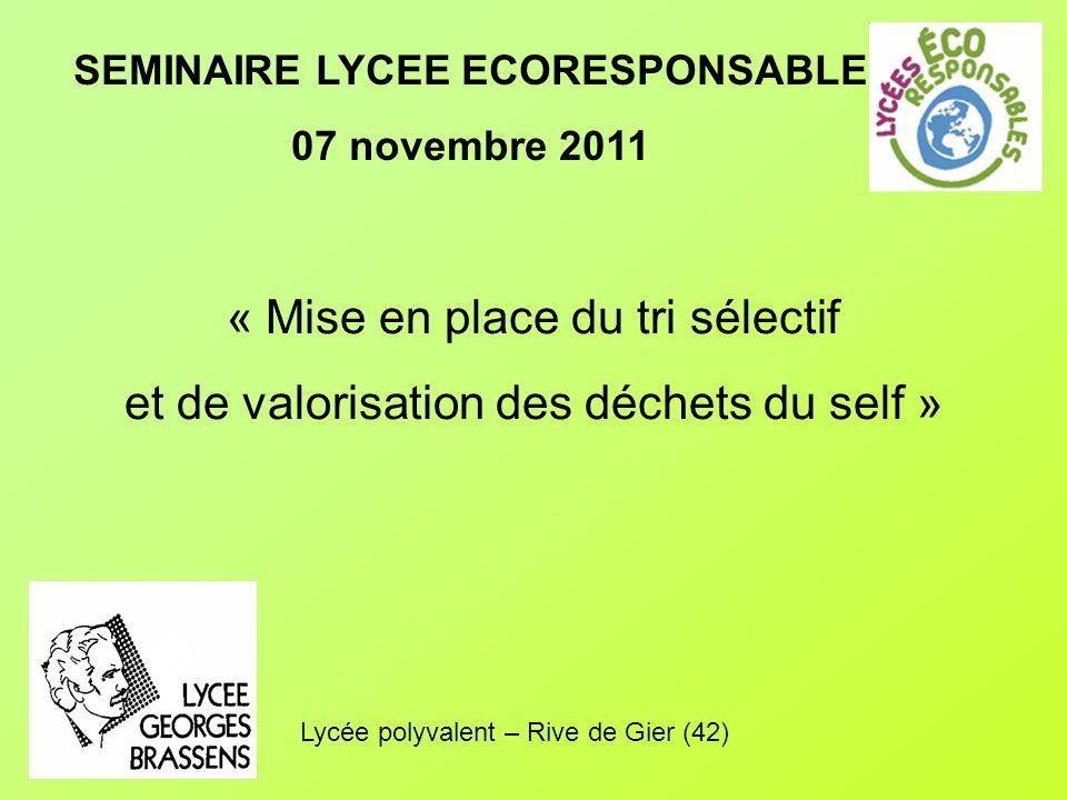 SEMINAIRE LYCEE ECORESPONSABLE 07 novembre 2011 « Mise en place du tri sélectif et de valorisation des déchets du self » Lycée polyvalent – Rive de Gier (42)