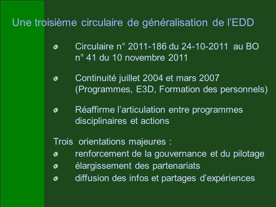 Une troisième circulaire de généralisation de lEDD Circulaire n° 2011-186 du 24-10-2011 au BO n° 41 du 10 novembre 2011 Continuité juillet 2004 et mar