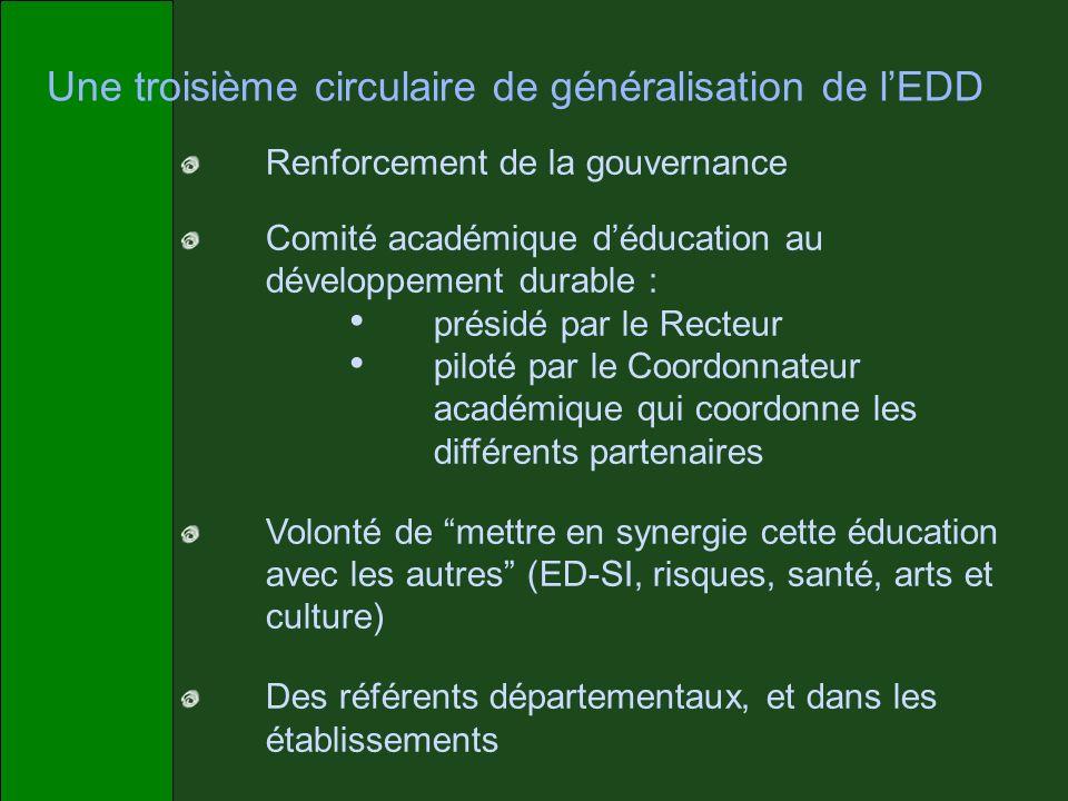 Une troisième circulaire de généralisation de lEDD Renforcement de la gouvernance Comité académique déducation au développement durable : présidé par