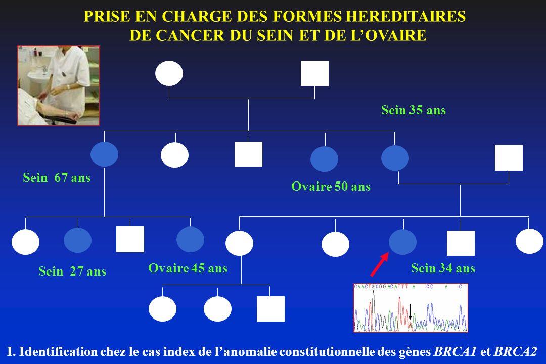 Sein 67 ans Ovaire 50 ans Sein 35 ans Sein 27 ans Sein 34 ansOvaire 45 ans I. Identification chez le cas index de lanomalie constitutionnelle des gène