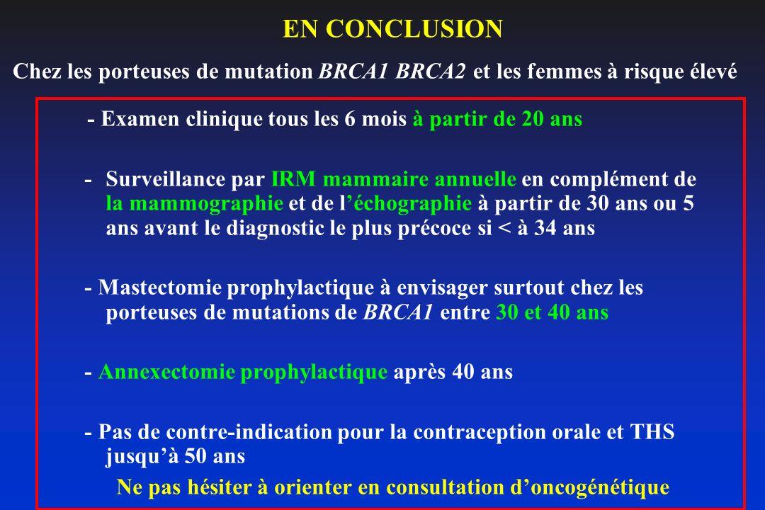 EN CONCLUSION - Examen clinique tous les 6 mois à partir de 20 ans -Surveillance par IRM mammaire annuelle en complément de la mammographie et de léch