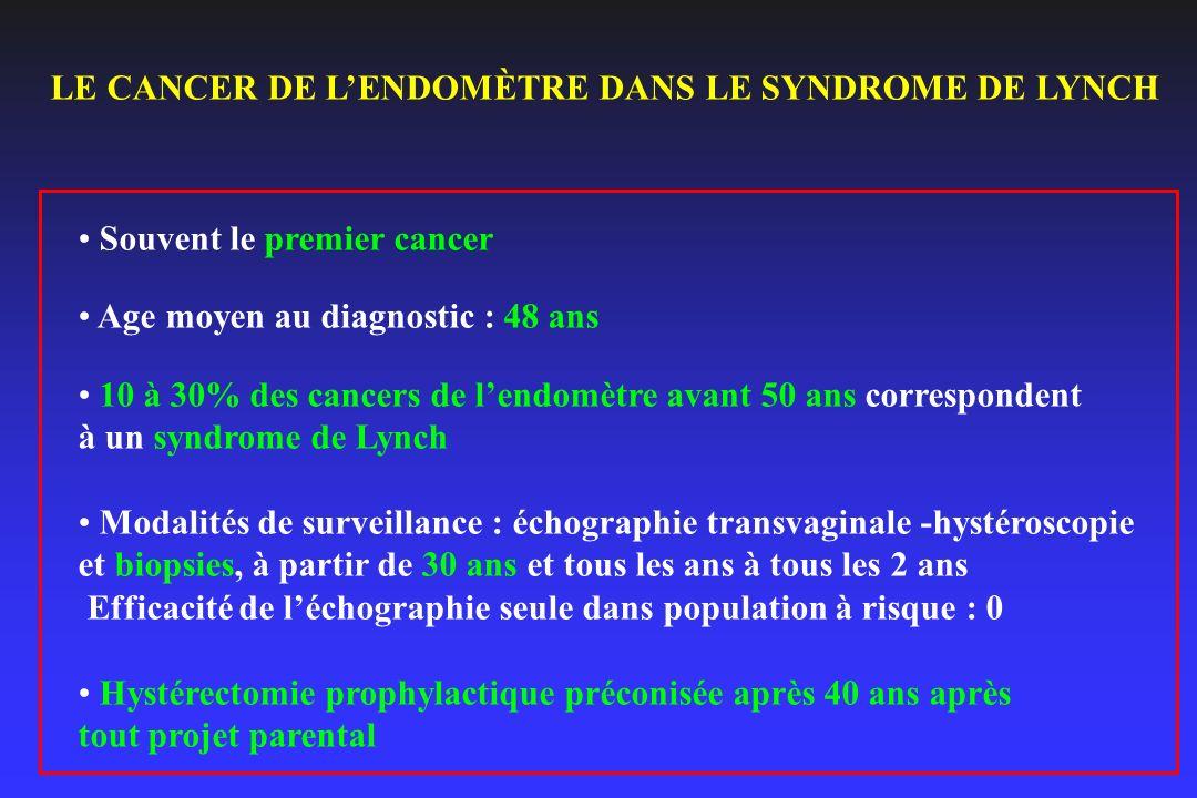 LE CANCER DE LENDOMÈTRE DANS LE SYNDROME DE LYNCH Souvent le premier cancer Age moyen au diagnostic : 48 ans 10 à 30% des cancers de lendomètre avant