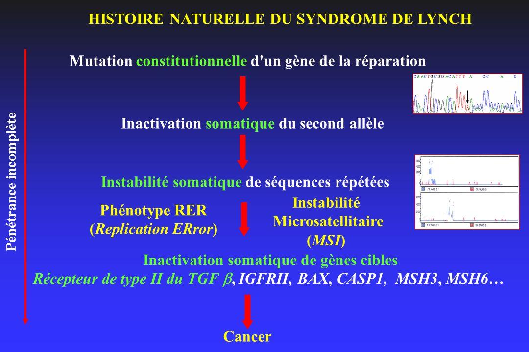 Mutation constitutionnelle d'un gène de la réparation Inactivation somatique du second allèle Instabilité somatique de séquences répétées Inactivation
