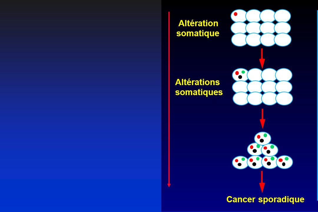 Cancer sporadiqueCancer héréditaire Altération somatique Altérations somatiques Altérations somatiques Altération constitutionnelle