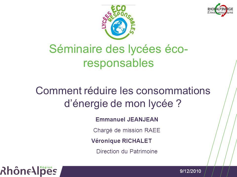9/12/2010Séminaire des lycées éco-responsables Sensibilisation et gestion énergétique Sensibilisation des usagers -Tous concernés et impliqués.