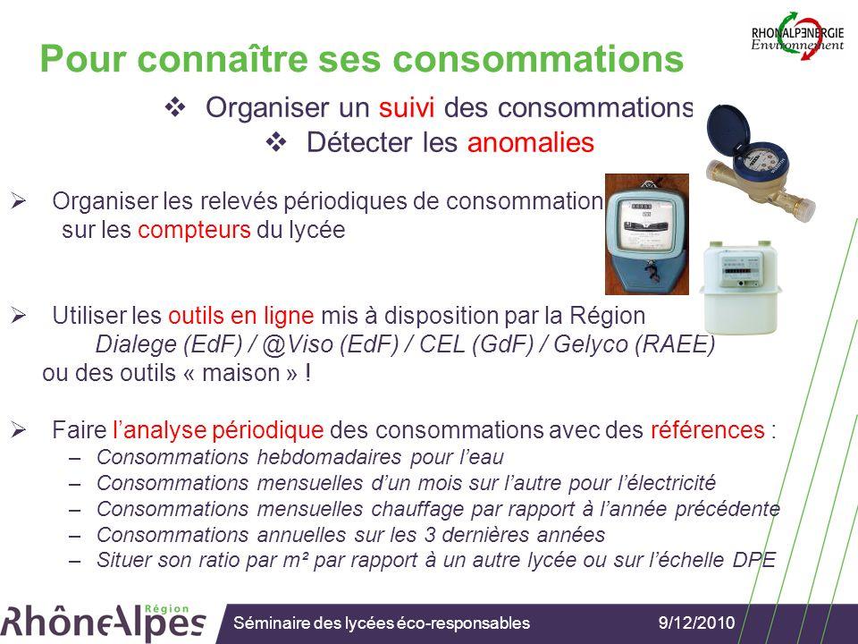 9/12/2010Séminaire des lycées éco-responsables Connaître ses consommations