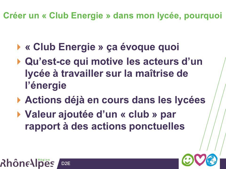 D2E Créer un « Club Energie » dans mon lycée, pourquoi « Club Energie » ça évoque quoi Quest-ce qui motive les acteurs dun lycée à travailler sur la maîtrise de lénergie Actions déjà en cours dans les lycées Valeur ajoutée dun « club » par rapport à des actions ponctuelles