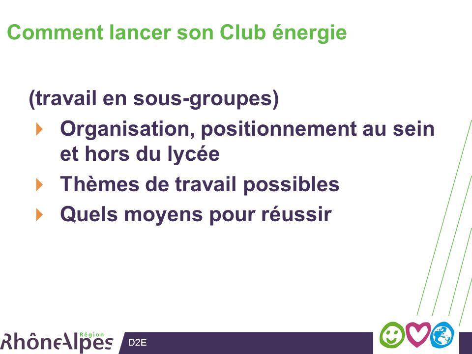 D2E Comment lancer son Club énergie (travail en sous-groupes) Organisation, positionnement au sein et hors du lycée Thèmes de travail possibles Quels moyens pour réussir