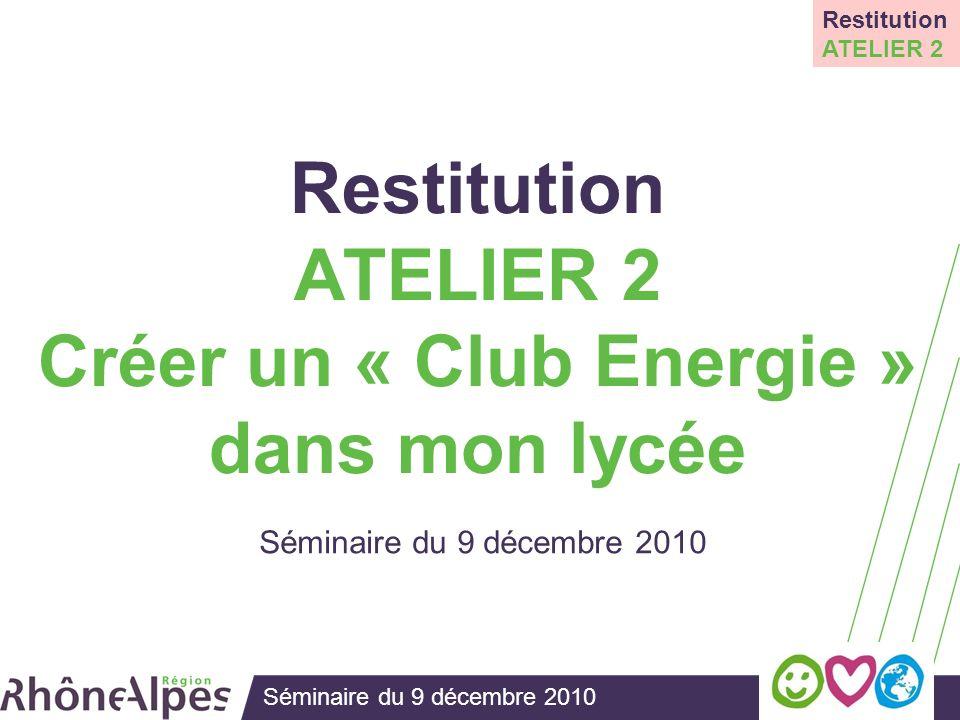 Séminaire du 9 décembre 2010 Restitution ATELIER 2 Créer un « Club Energie » dans mon lycée Séminaire du 9 décembre 2010 Restitution ATELIER 2
