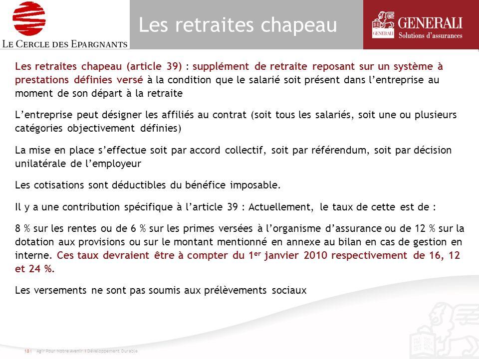 Les retraites chapeau Les retraites chapeau (article 39) : supplément de retraite reposant sur un système à prestations définies versé à la condition