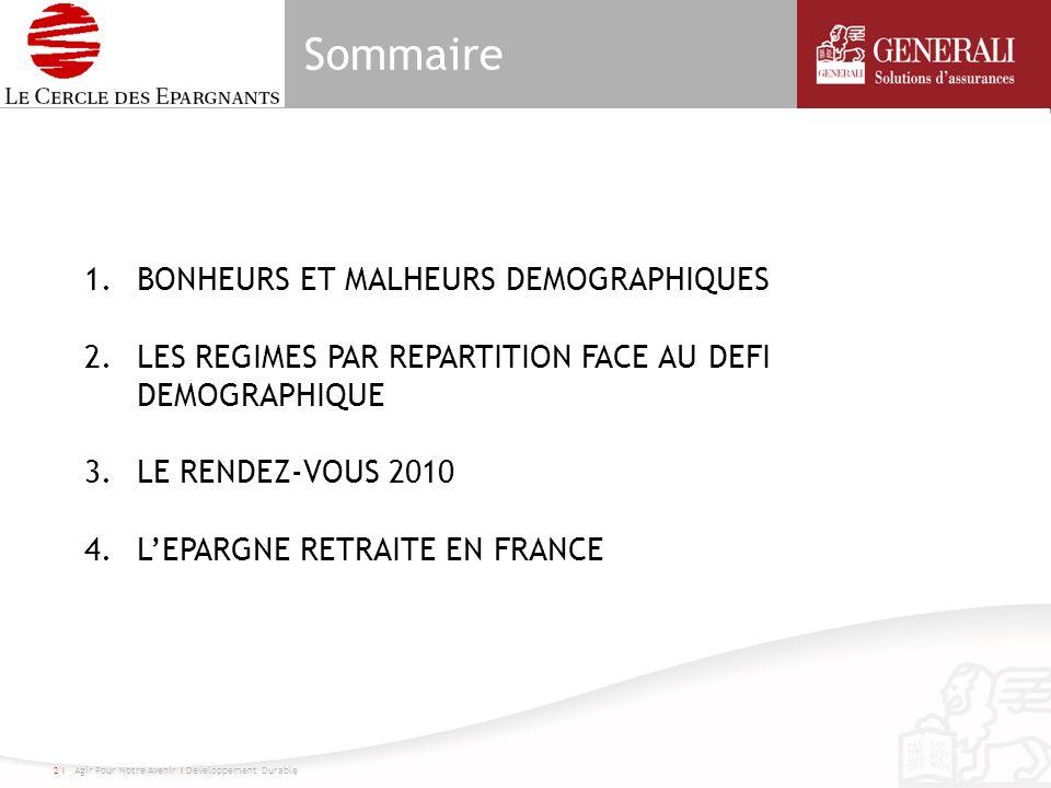 Sommaire 2 I Agir Pour Notre Avenir I Développement Durable 1.BONHEURS ET MALHEURS DEMOGRAPHIQUES 2.LES REGIMES PAR REPARTITION FACE AU DEFI DEMOGRAPHIQUE 3.LE RENDEZ-VOUS 2010 4.LEPARGNE RETRAITE EN FRANCE