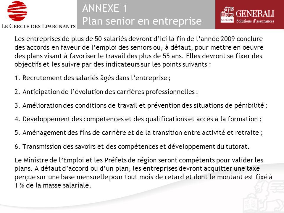 ANNEXE 1 Plan senior en entreprise Les entreprises de plus de 50 salariés devront dici la fin de lannée 2009 conclure des accords en faveur de lemploi