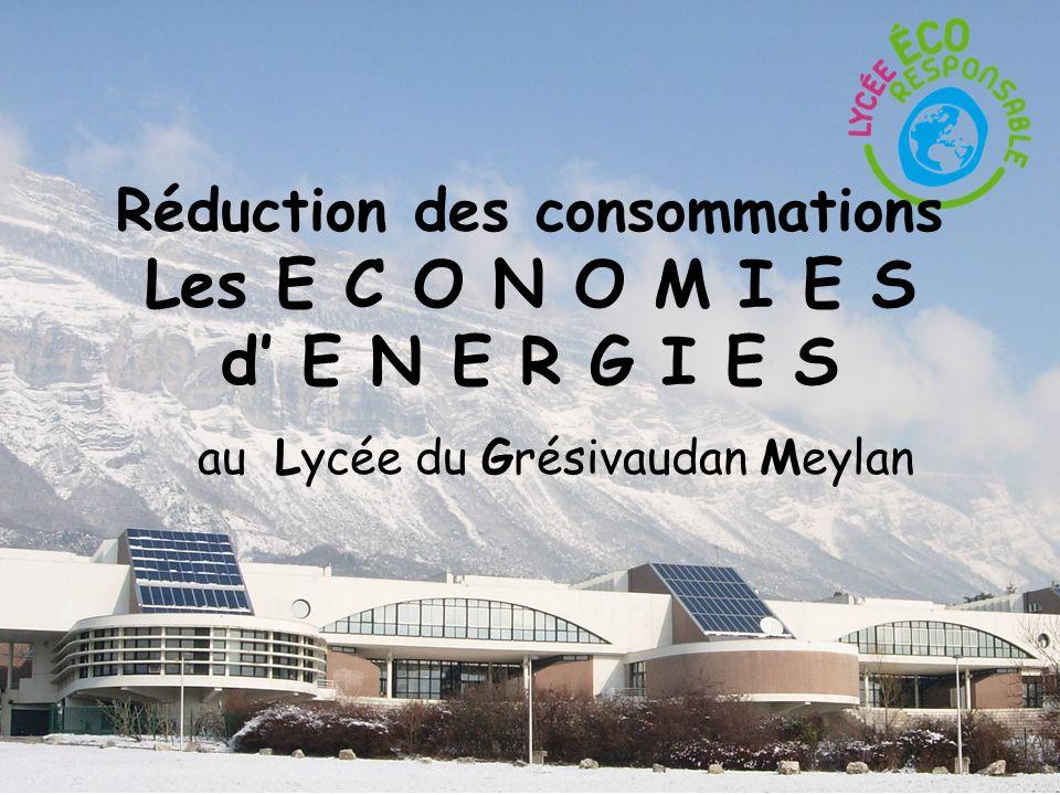 Réduction des consommations Les E C O N O M I E S d E N E R G I E S au Lycée du Grésivaudan Meylan