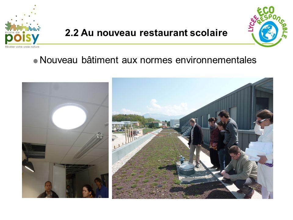 2.2 Au nouveau restaurant scolaire Ouverture mai 2011