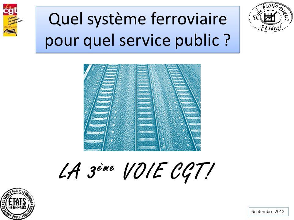 Septembre 2012 Quel système ferroviaire pour quel service public ? Quel système ferroviaire pour quel service public ? LA 3 ème VOIE CGT!
