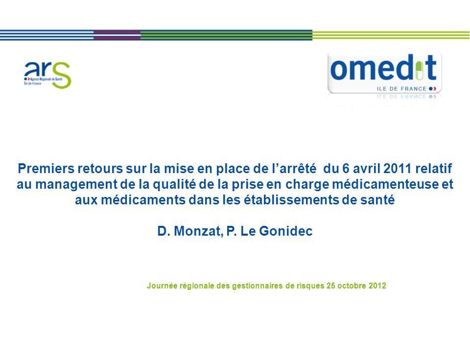 Premiers retours sur la mise en place de larrêté du 6 avril 2011 relatif au management de la qualité de la prise en charge médicamenteuse et aux médicaments dans les établissements de santé D.