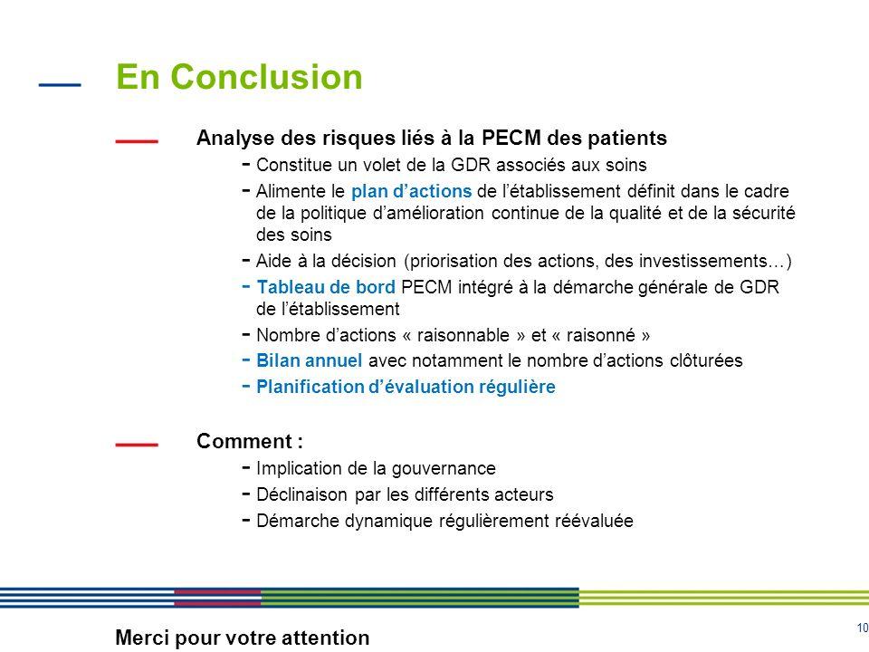 10 En Conclusion Analyse des risques liés à la PECM des patients - Constitue un volet de la GDR associés aux soins - Alimente le plan dactions de léta