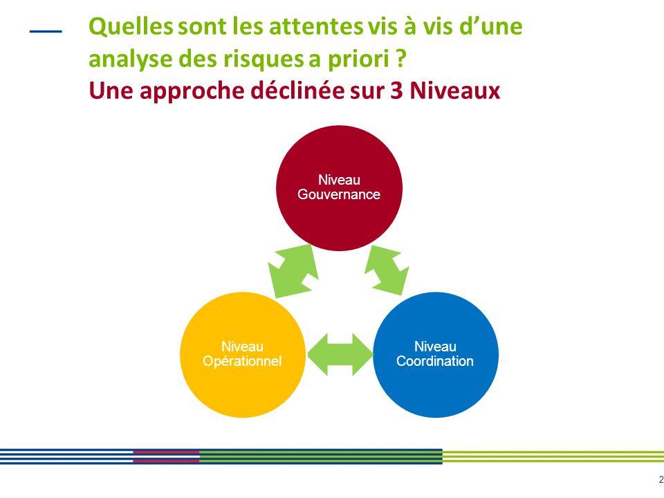 2 Quelles sont les attentes vis à vis dune analyse des risques a priori ? Une approche déclinée sur 3 Niveaux Niveau Gouvernance Niveau Coordination N