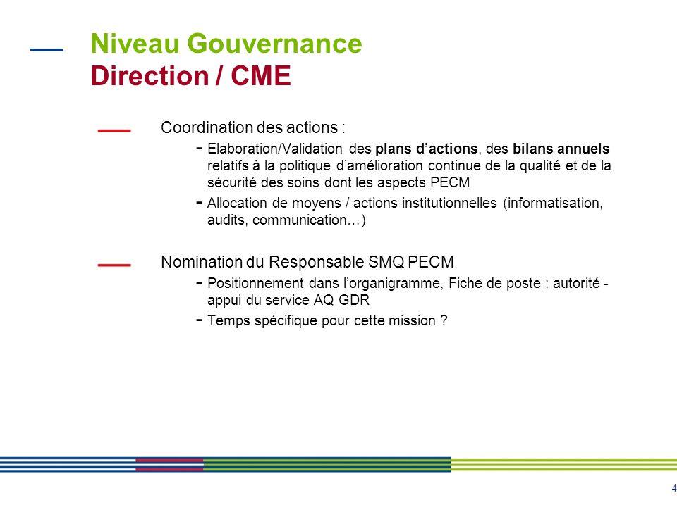 4 Niveau Gouvernance Direction / CME Coordination des actions : - Elaboration/Validation des plans dactions, des bilans annuels relatifs à la politiqu