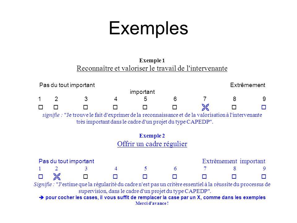 Exemples Exemple 1 Reconnaître et valoriser le travail de l'intervenante Pas du tout important Extrêmement important 1 2 3 4 5 6 7 8 9 signifie :