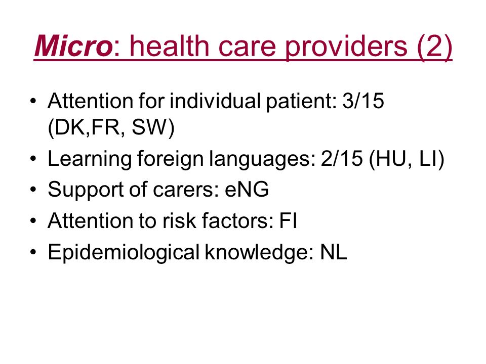 Micro: health care providers (2) Attention for individual patient: 3/15 (DK,FR, SW) Learning foreign languages: 2/15 (HU, LI) Support of carers: eNG A