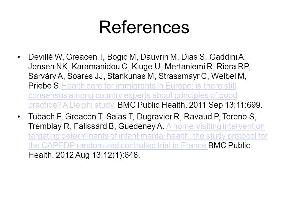 References Devillé W, Greacen T, Bogic M, Dauvrin M, Dias S, Gaddini A, Jensen NK, Karamanidou C, Kluge U, Mertaniemi R, Riera RP, Sárváry A, Soares J