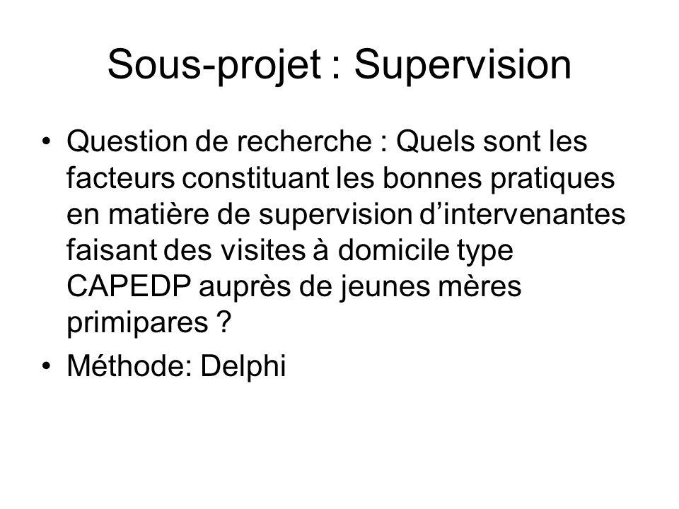 Sous-projet : Supervision Question de recherche : Quels sont les facteurs constituant les bonnes pratiques en matière de supervision dintervenantes fa